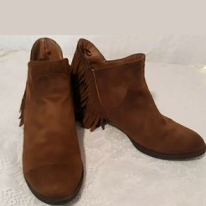 Faded Glory Cognac Brown Fringe Ankle Boots Sz 6